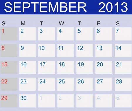 Calendar 2013. September. Stock Vector - 15190479