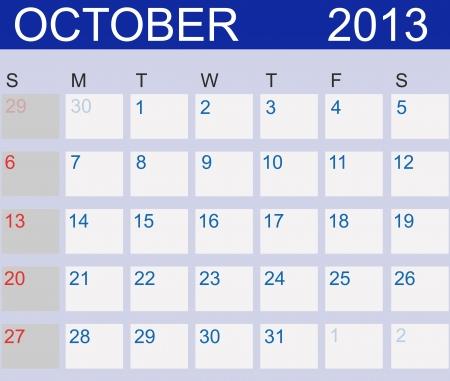 Calendar 2013. October. Stock Vector - 15190482