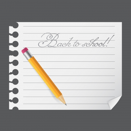Yellow wooden pencil on a blank notepad illustration on business theme Vector