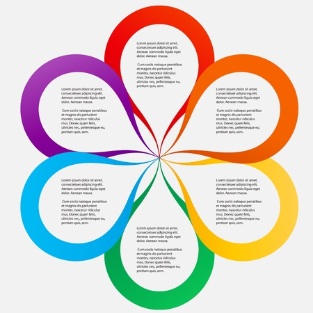 Concept of colorful circular banners in flower form for different business design   Ilustração