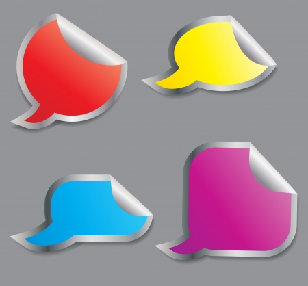 Set of colorful speech bubble stickers different corner and place for your text   illustration Vector