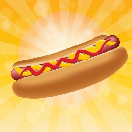 perro comiendo: Ilustraci�n realista perro caliente