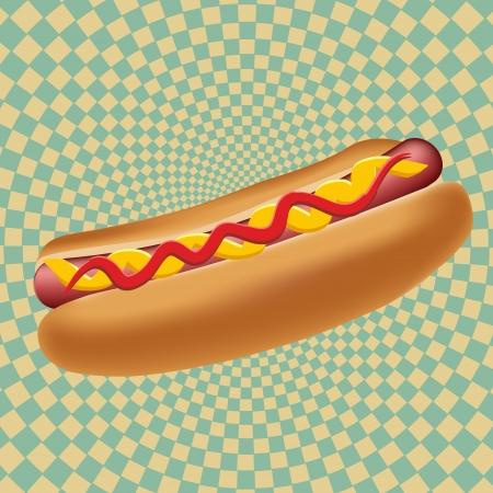 dog eating: Realistic hot dog  illustration Illustration
