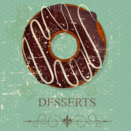 Retro vintage grunge style dessert menu   illustration Vector