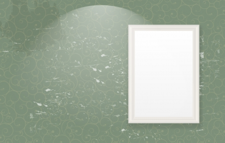 Open white door on a green wall  illustration Vector