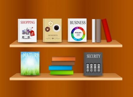 Bookshelf with books  illustration Vector