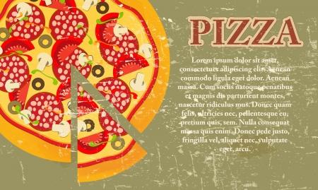 pizza: Pizza Menu Template in vintage retro grunge stijl illustratie