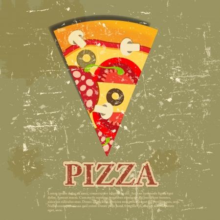Pizza Menu Template in vintage retro grunge style  illustration
