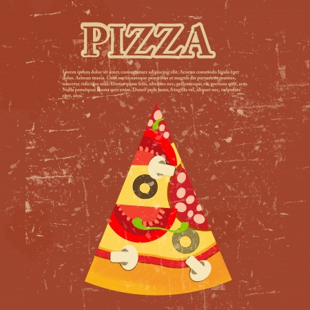 paper plates: Pizza Menu Template in vintage retro grunge style  illustration