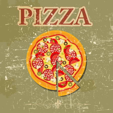 pizza: Pizza-Men�-Schablone in Retro grunge style illustration