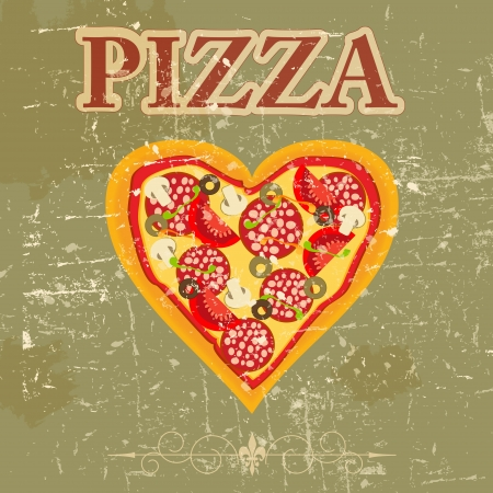pizzeria: Pizza Menu Template in vintage retro grunge style illustration Illustration