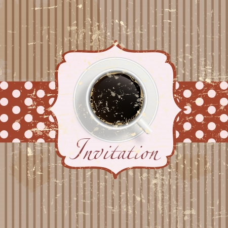 coffee invitation background in retro vintage grunge style Vector