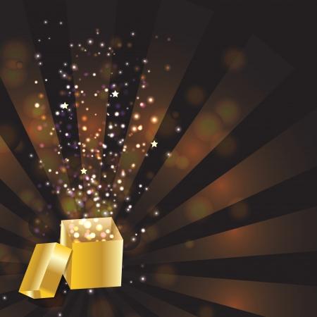 goldy: Open magic Gift box,  illustration