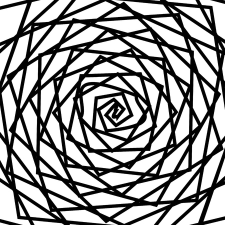 Black and white hypnotic background. Vector