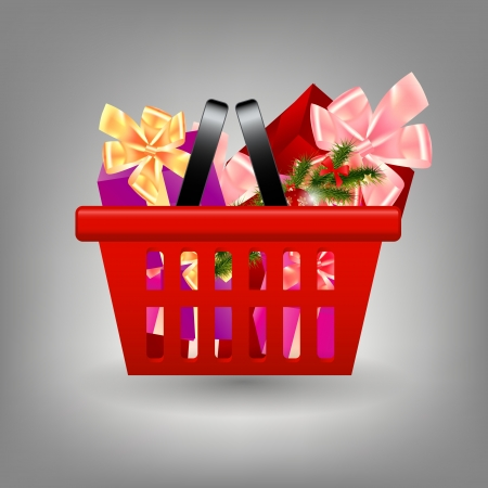 Shoping cart with Christmas gifts Vector