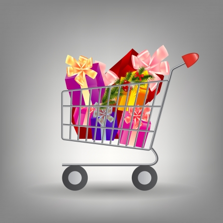 product cart: Shoping cart with Christmas gifts  Illustration