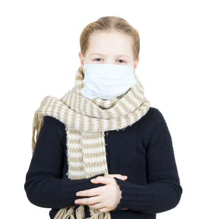 Girl in medical mask isolated on white background photo