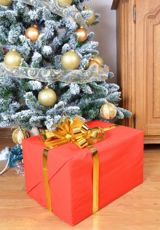 Christmas tree with gift box photo