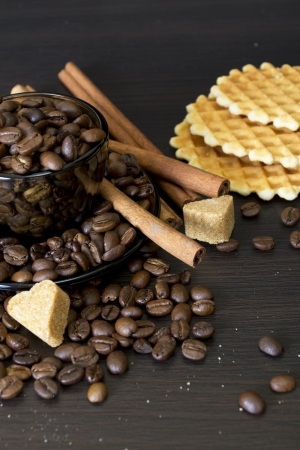 coffee beans, Pots, cinnamon on dark background Stock Photo - 15026776