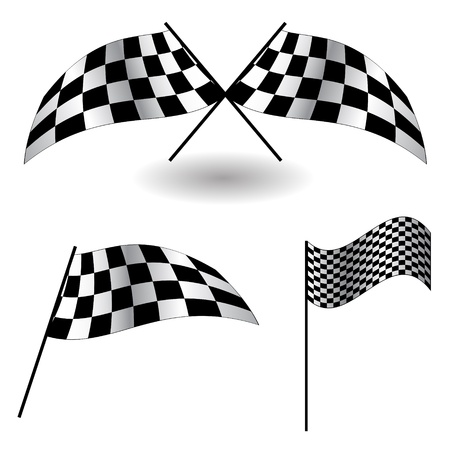 checkered flag: Set di bandiere a scacchi. Illustrazione Vettoriale.