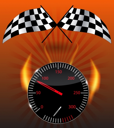 Checkered flag, speedometer   Stock Vector - 15117189