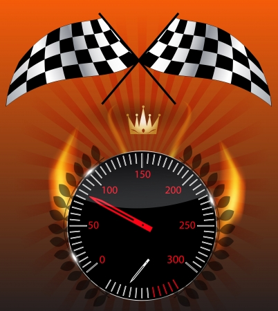 timer: Checkered flag, speedometer Illustration
