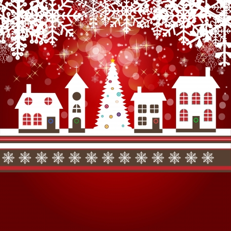 Abstract beauty Christmas and New Year background with little town Vector