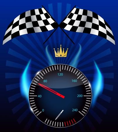 Checkered flag, speedometer  Stock Vector - 15117336