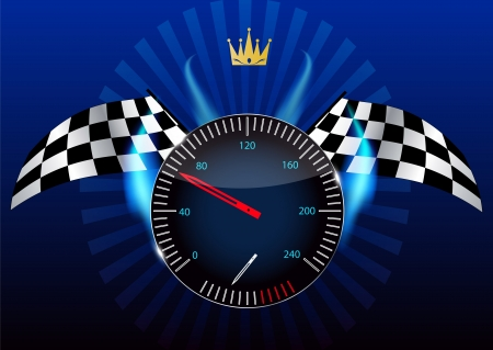 Checkered flag, speedometer
