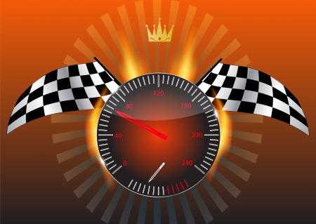 Checkered flag, speedometer
