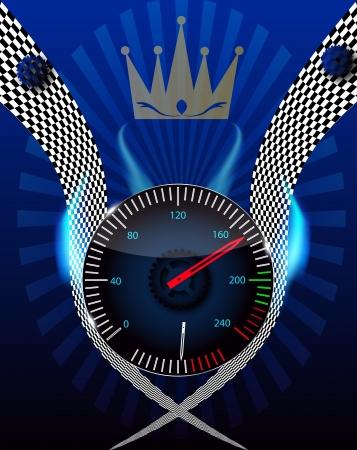 Checkered flag, speedometer Stock Vector - 15117334