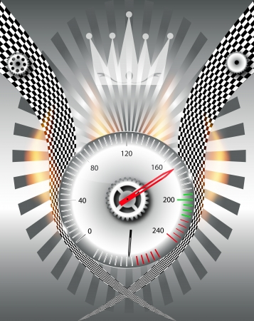 political rally: Checkered flag, speedometer Illustration