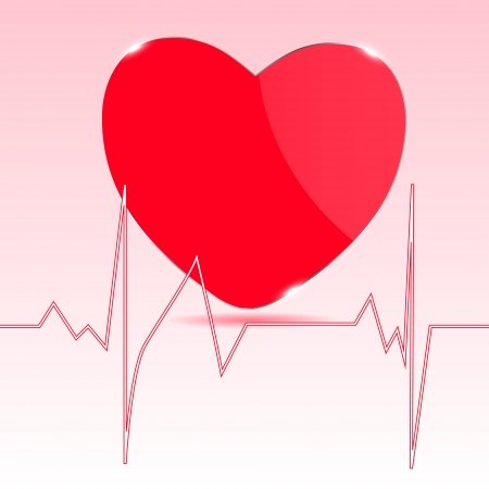 listening to heartbeat: Cardiogram with heart Illustration
