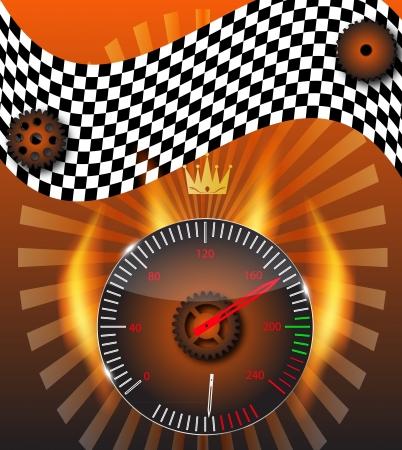 Checkered flag, speedometer Stock Vector - 15117825