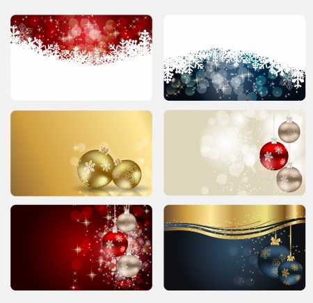 Set of cards with Christmas BALLS, stars and snowflakes, illustration Stock Vector - 15163777