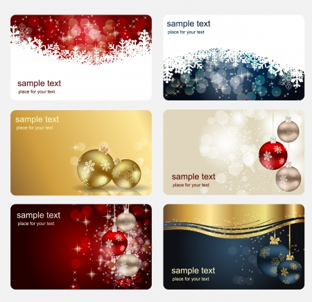 lighting background: Set of cards with Christmas BALLS, stars and snowflakes, illustration Illustration