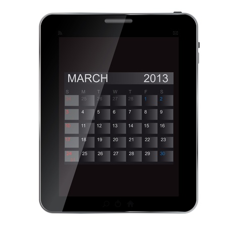 2013 year calendar on abstract  design Tablet. Vector