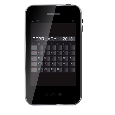 2013 year calendar on abstract  design phone   Stock Vector - 15498283