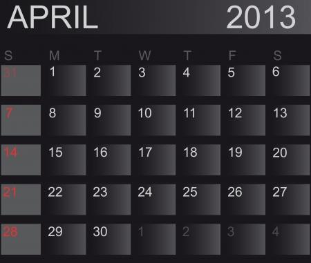 Calendar 2013. April. Stock Vector - 15277666