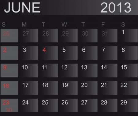 Calendar 2013. June. Stock Vector - 15277676
