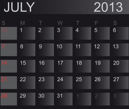 Calendar 2013. July. Stock Vector - 15277667