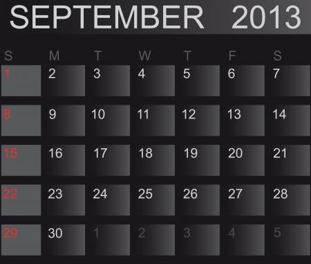 Calendar 2013. September. Vector