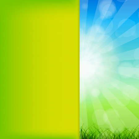 Summer Abstract Background with grass and chamomile against sunny sky Stock Vector - 15282307