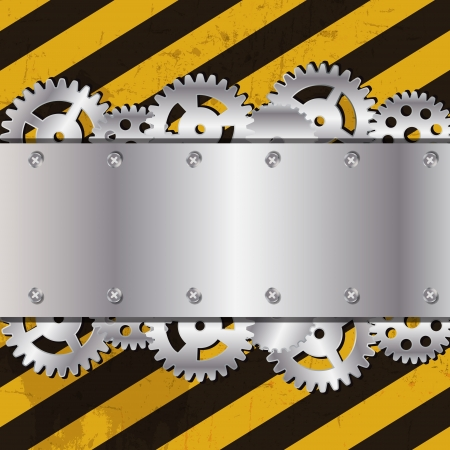 Metal frame on grunge striped cunstruction background Stock Vector - 15282434