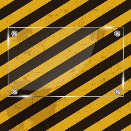 achtung schild: Glass frame on grunge gestreiften Bau Hintergrund