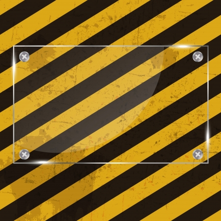 danger warning sign: Glass frame on grunge striped construction background