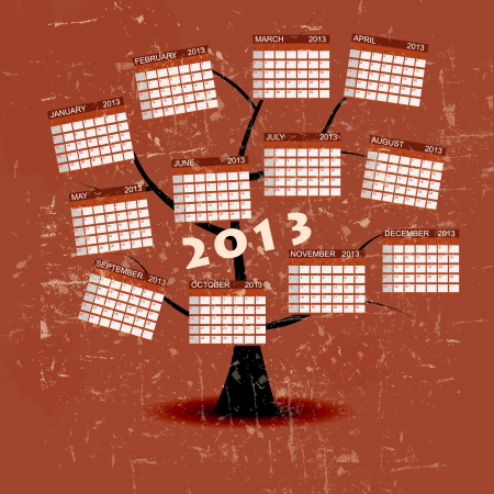 Calendar 2013 vintage retro background. Stock Vector - 15282472