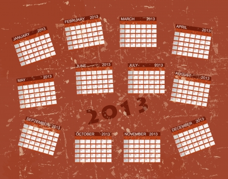Calendar 2013 vintage retro  background. Vector