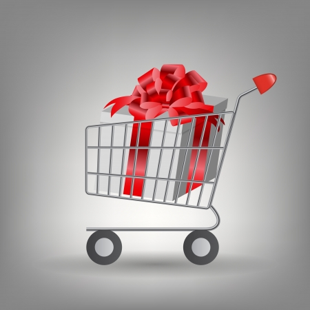 Shoping cart with Christmas gifts  Vector illustration Vector