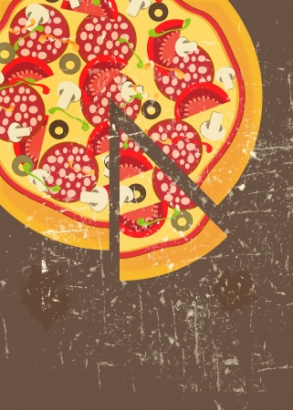 Pizza Menu Template in vintage retro grunge style Stock Vector - 15400034
